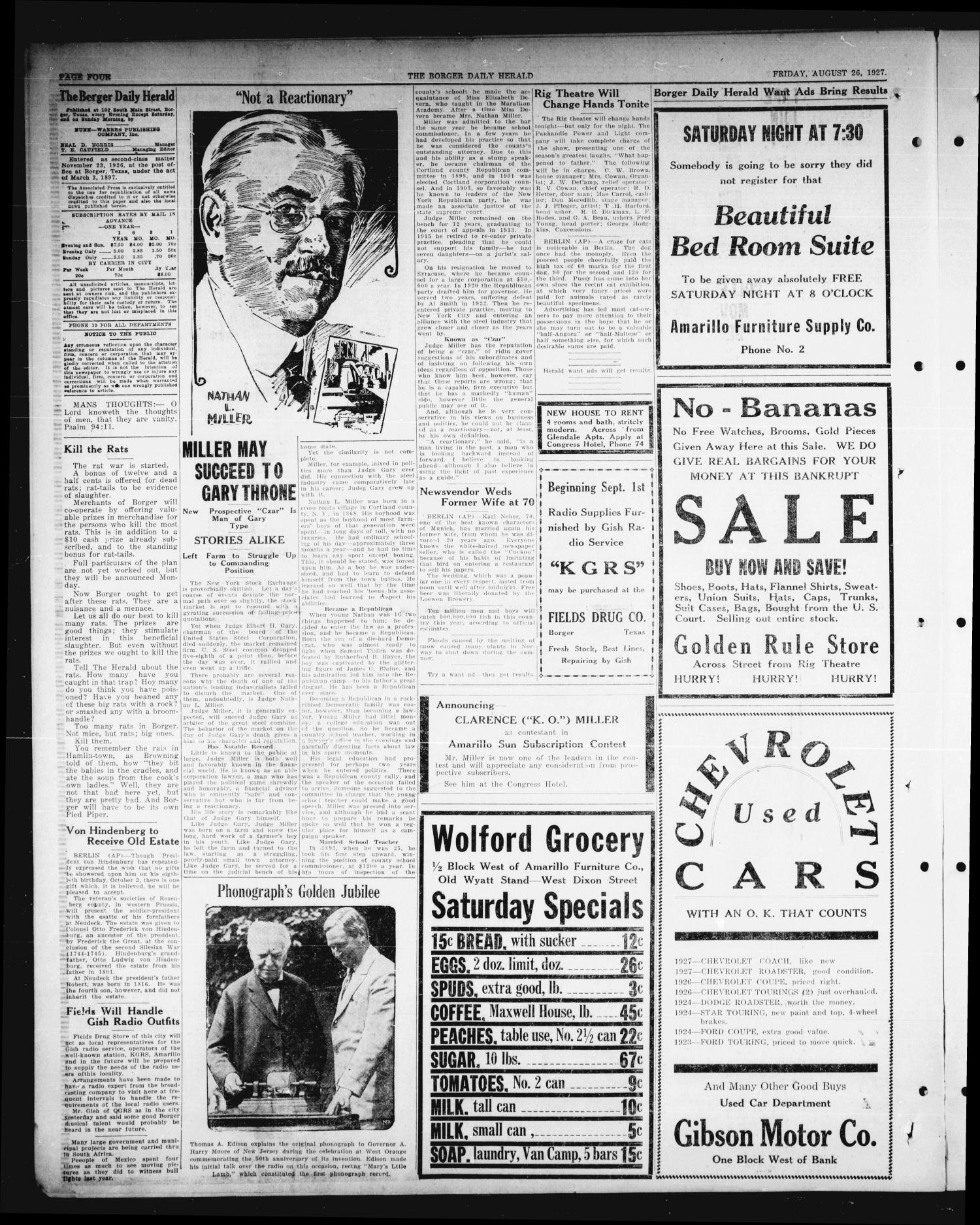Borger Daily Herald (Borger, Tex.), Vol. 1, No. 236, Ed. 1 Friday, August 26, 1927                                                                                                      [Sequence #]: 4 of 8