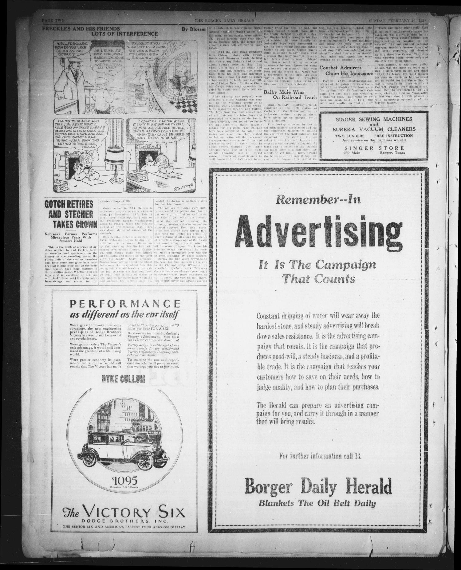 Borger Daily Herald (Borger, Tex.), Vol. 2, No. 81, Ed. 1 Sunday, February 26, 1928                                                                                                      [Sequence #]: 2 of 8