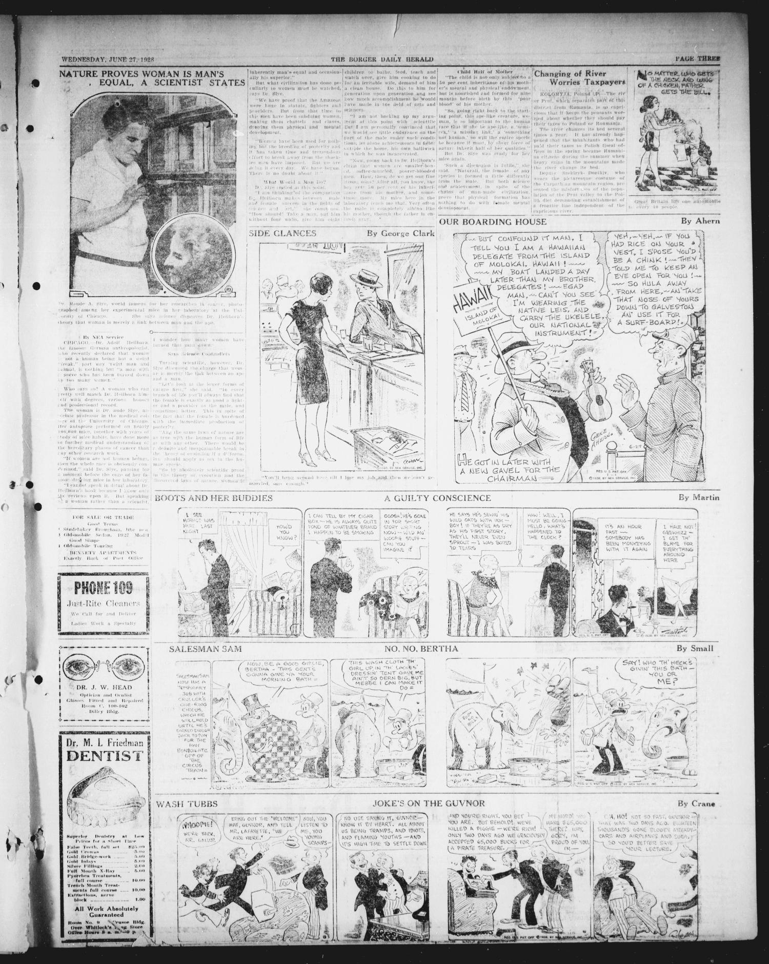Borger Daily Herald (Borger, Tex.), Vol. 2, No. 186, Ed. 1 Wednesday, June 27, 1928                                                                                                      [Sequence #]: 3 of 8
