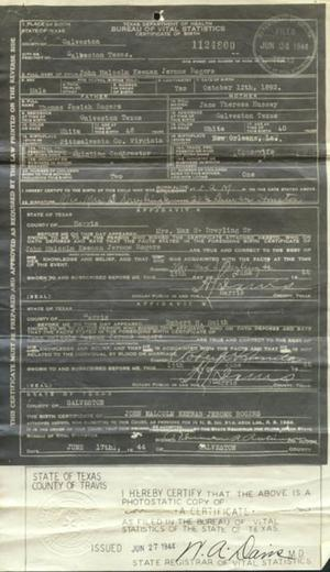 Primary view of object titled '[Birth Certificate for John Malcolm Keenan Jerome Rogers]'.
