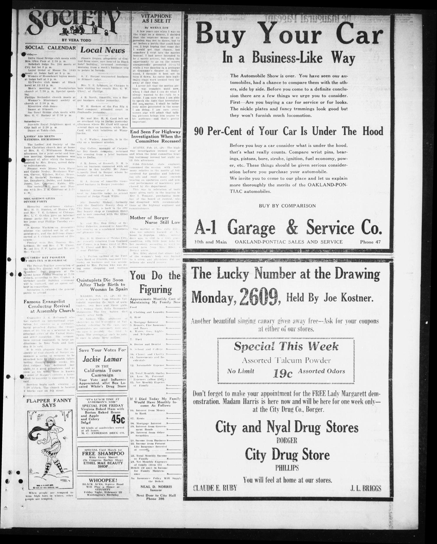 Borger Daily Herald (Borger, Tex.), Vol. 3, No. 77, Ed. 1 Thursday, February 21, 1929                                                                                                      [Sequence #]: 5 of 12