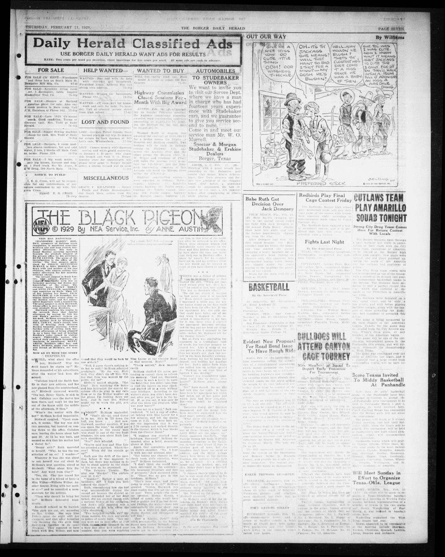 Borger Daily Herald (Borger, Tex.), Vol. 3, No. 77, Ed. 1 Thursday, February 21, 1929                                                                                                      [Sequence #]: 7 of 12