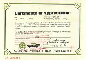 Primary view of object titled 'Certificate of appreciation to Jane Reed for defensive driving completion'.