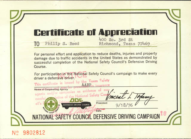 certificate of appreciation to phillip reed for defensive