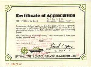 Primary view of object titled '[Certificate of appreciation to Phillip Reed for defensive driving completion]'.