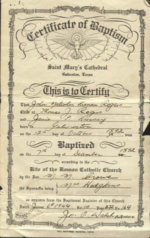 Primary view of object titled '[Certificate of baptism from Saint Mary's Cathedral in Galveston, TX]'.
