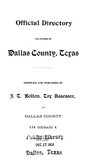 Primary view of object titled 'Official Directory: Taxpayers of Dallas County, Texas'.