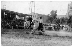 Primary view of object titled 'Pick-up man and bronc rider, c. 1920'.