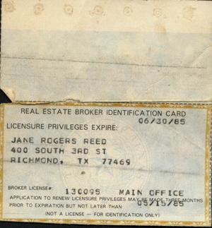 Primary view of object titled 'Real Estate Broker ID card for Jane Rogers Reed'.