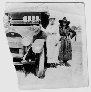 Ruth Roach [with a another lady and a car], c. 1918