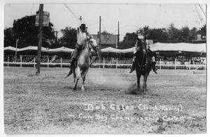 Primary view of object titled 'Bob Calen trick roping - Cowboy Championship Contest, c. 1920'.