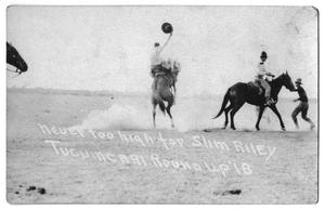 Primary view of object titled 'Never too high for Slim Riley - Tucumcari Round-up, 1918'.