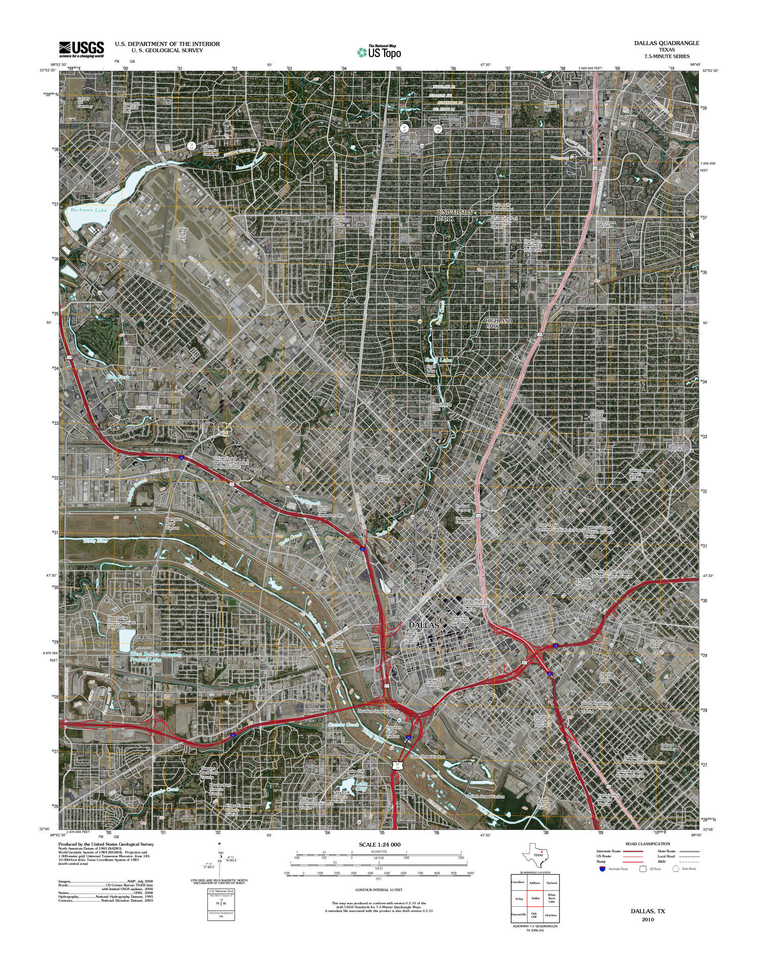 Dallas Quadrangle, Satellite image topographic map of a portion of Texas from the United States Geological Survey (USGS) project. The map includes towns, historic or notable sites, bodies of water, and other geologic features. Scale 1:24,000,