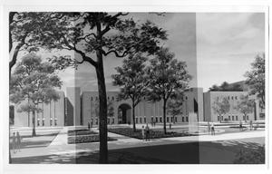 Primary view of object titled 'A.M. Willis Library architectural sketch, North Texas State University'.