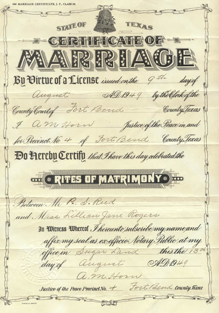 marriage certificate issued august 9  1949 in fort bend