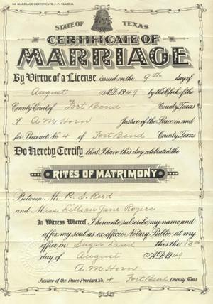 Primary view of object titled '[Marriage Certificate issued August 9, 1949 in Fort Bend County to P.S. Reed...]'.