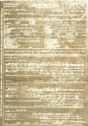 Primary view of object titled 'copy of John Malcolm Keenan Jerome Rogers birth certificate'.