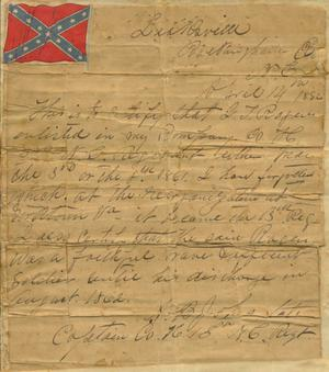 [Letter certifying that J.T. Rogers enlisted]