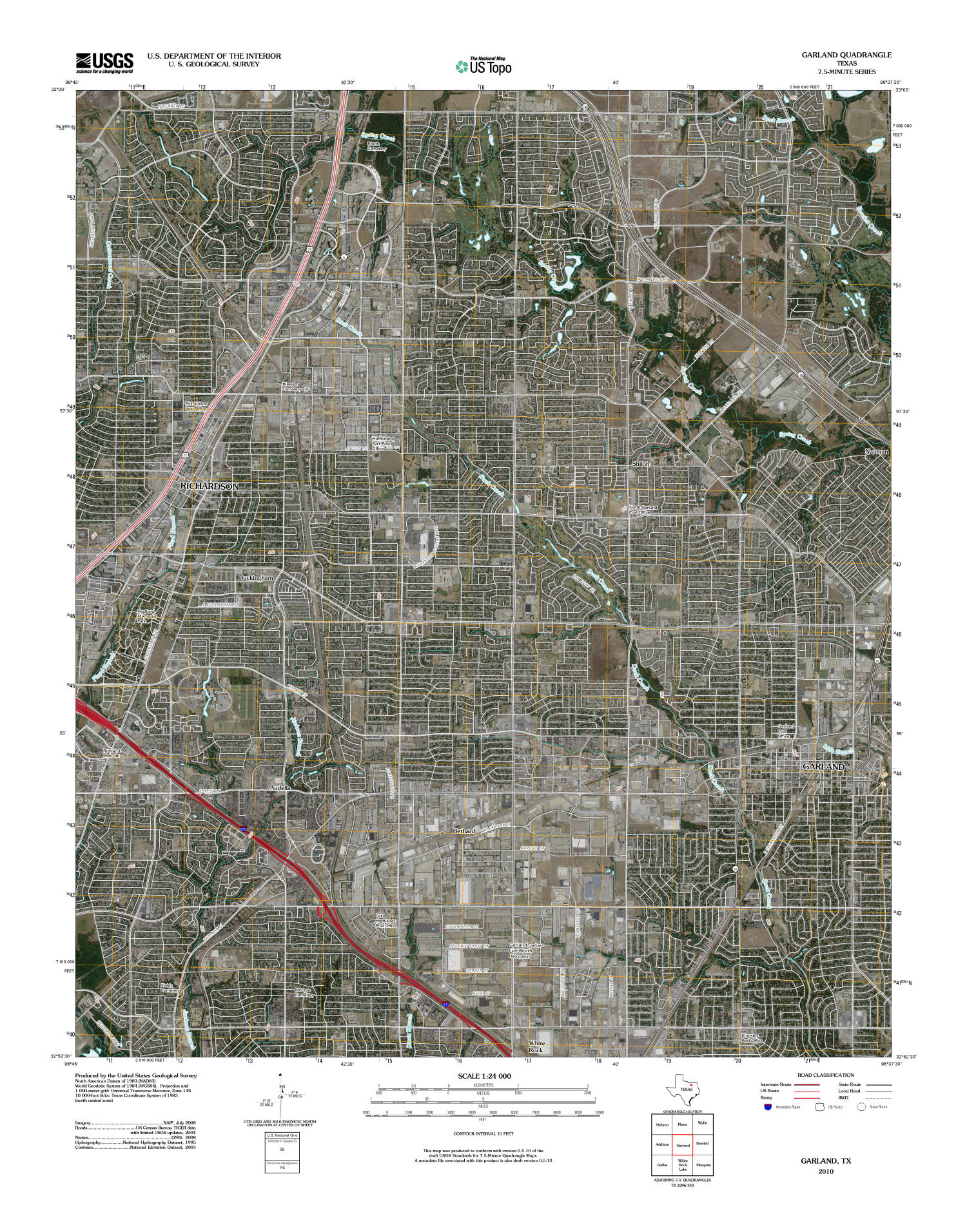 Garland Quadrangle, Satellite image topographic map of a portion of Texas from the United States Geological Survey (USGS) project. The map includes towns, historic or notable sites, bodies of water, and other geologic features. Scale 1:24,000,