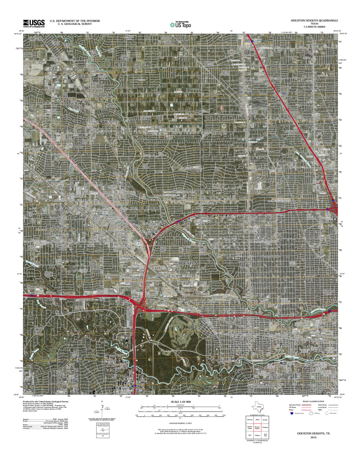 Houston Heights Quadrangle, Satellite image topographic map of a portion of Texas from the United States Geological Survey (USGS) project. The map includes towns, historic or notable sites, bodies of water, and other geologic features. Scale 1:24,000,