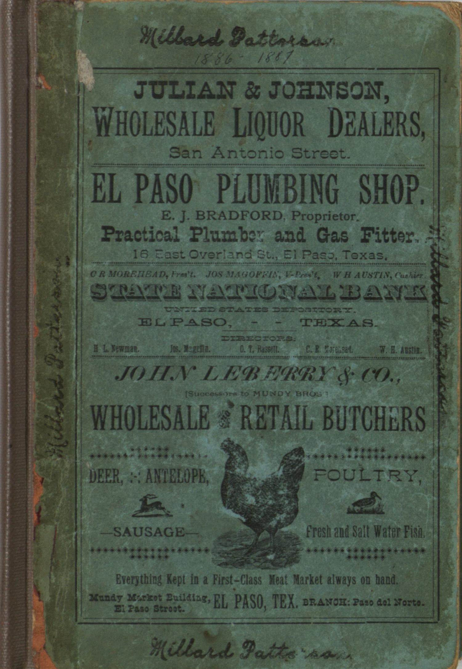 General Directory of the City of El Paso for 1886-87.                                                                                                      Front Cover