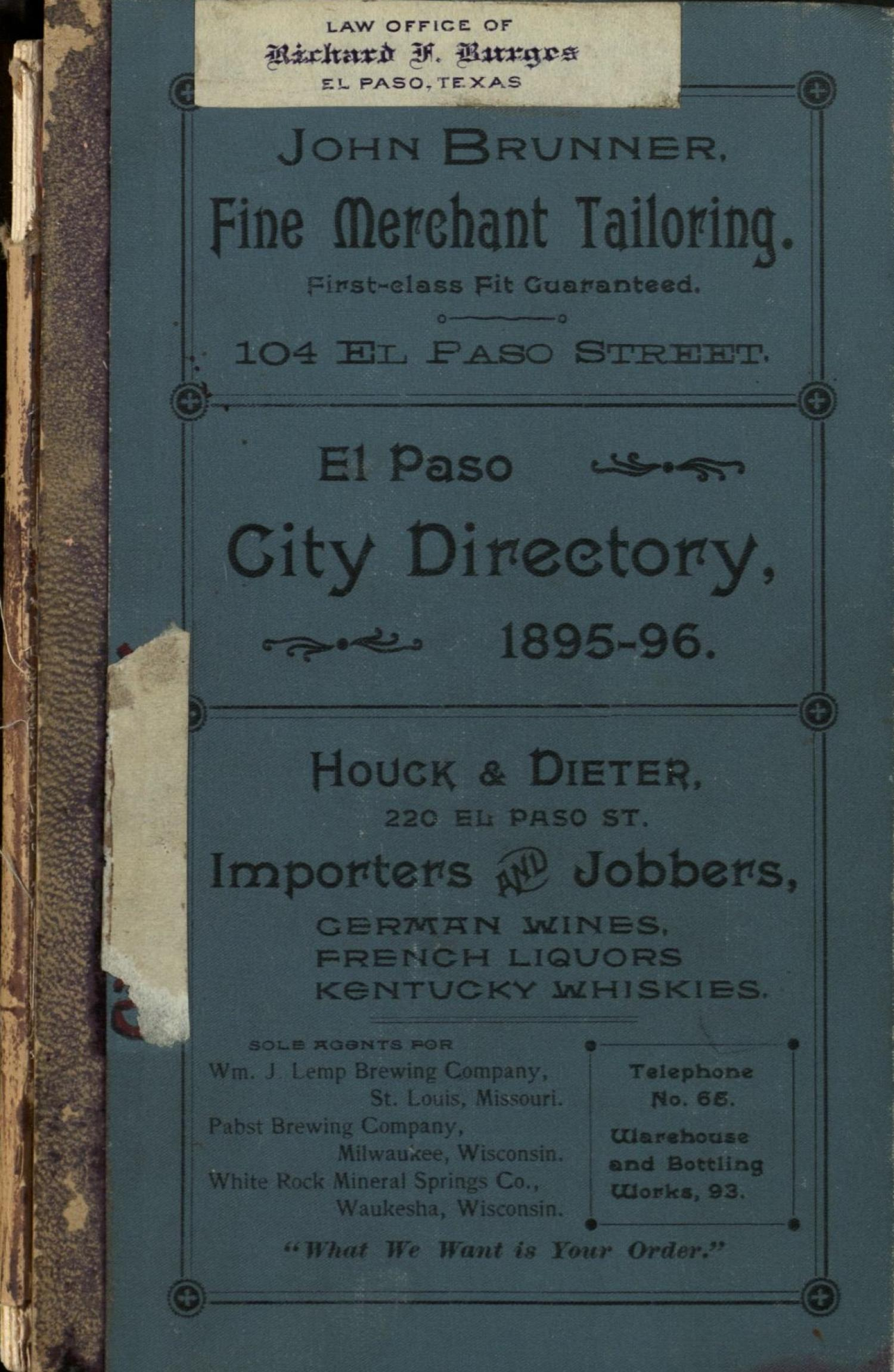 El Paso City Directory for the Years 1895 - 1896                                                                                                      Front Cover