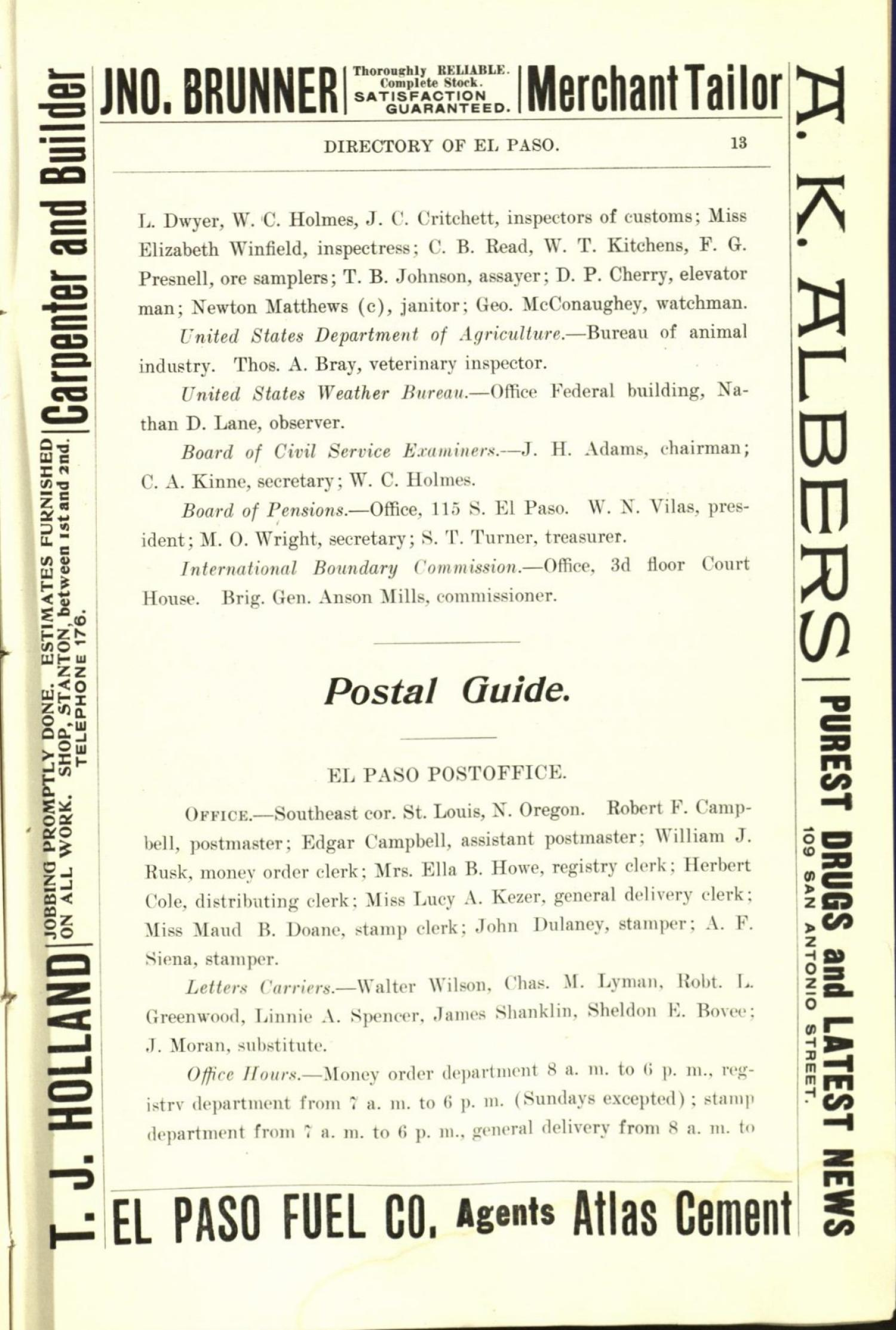 Worley's Directory of the City of El Paso, Texas 1901                                                                                                      13