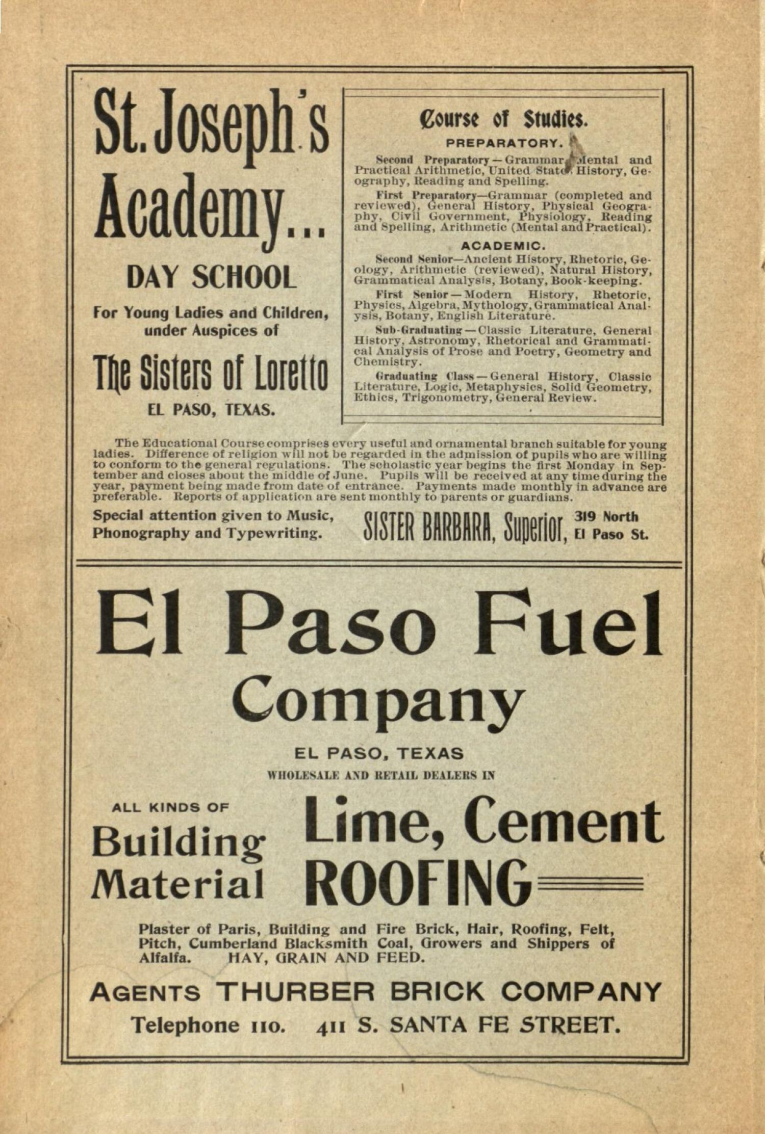Worley's Directory of the City of El Paso, Texas 1901                                                                                                      Front Inside