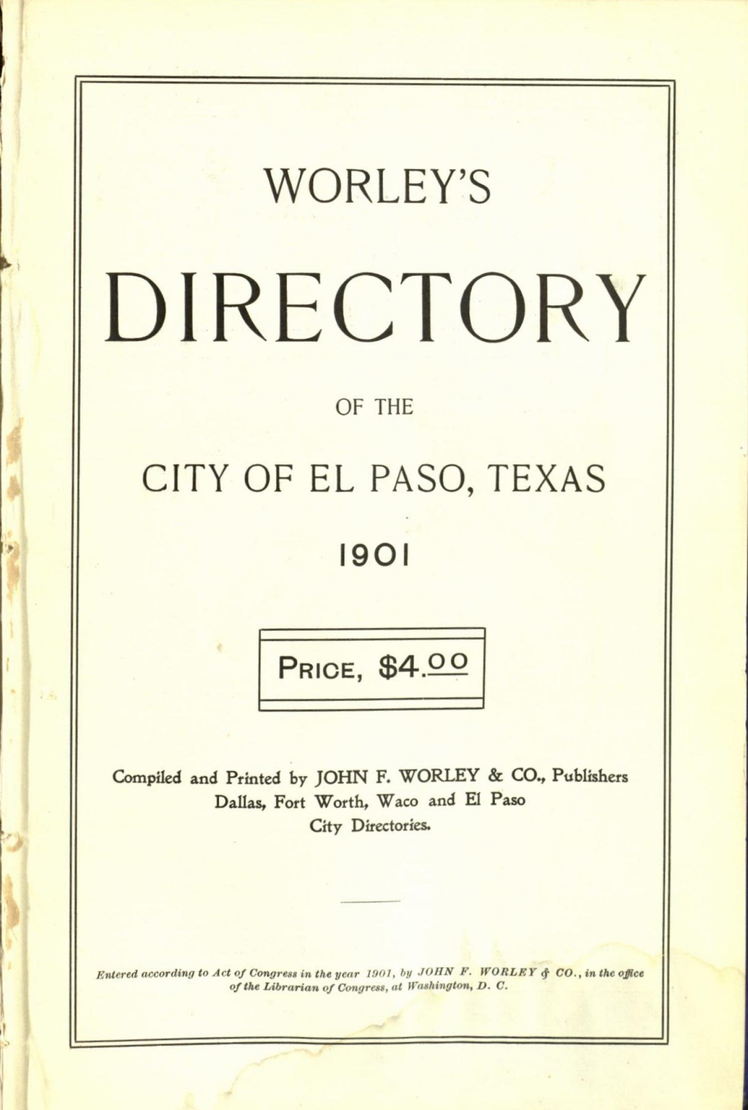 Worley's Directory of the City of El Paso, Texas 1901                                                                                                      Title Page