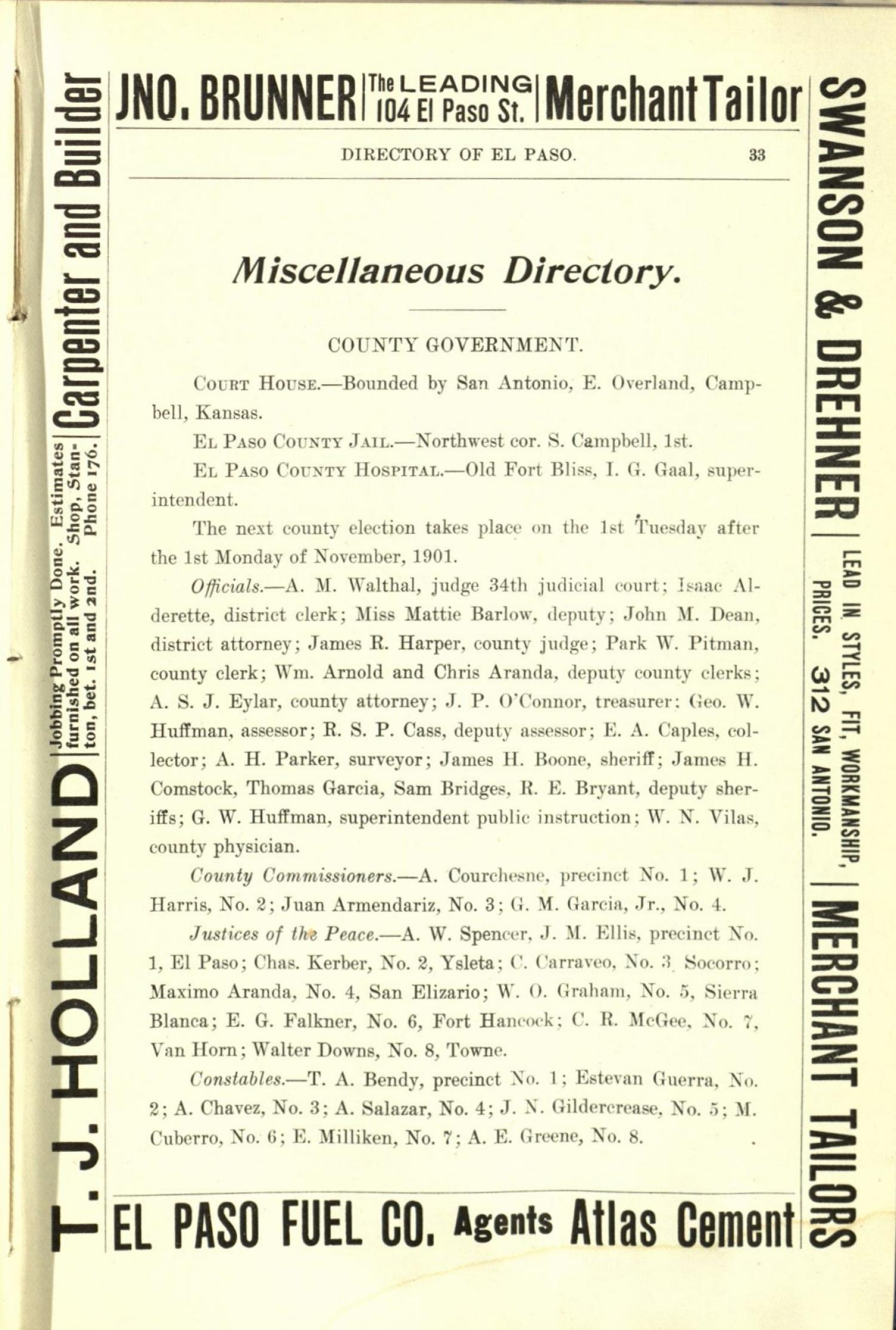 Worley's Directory of the City of El Paso, Texas 1901                                                                                                      33
