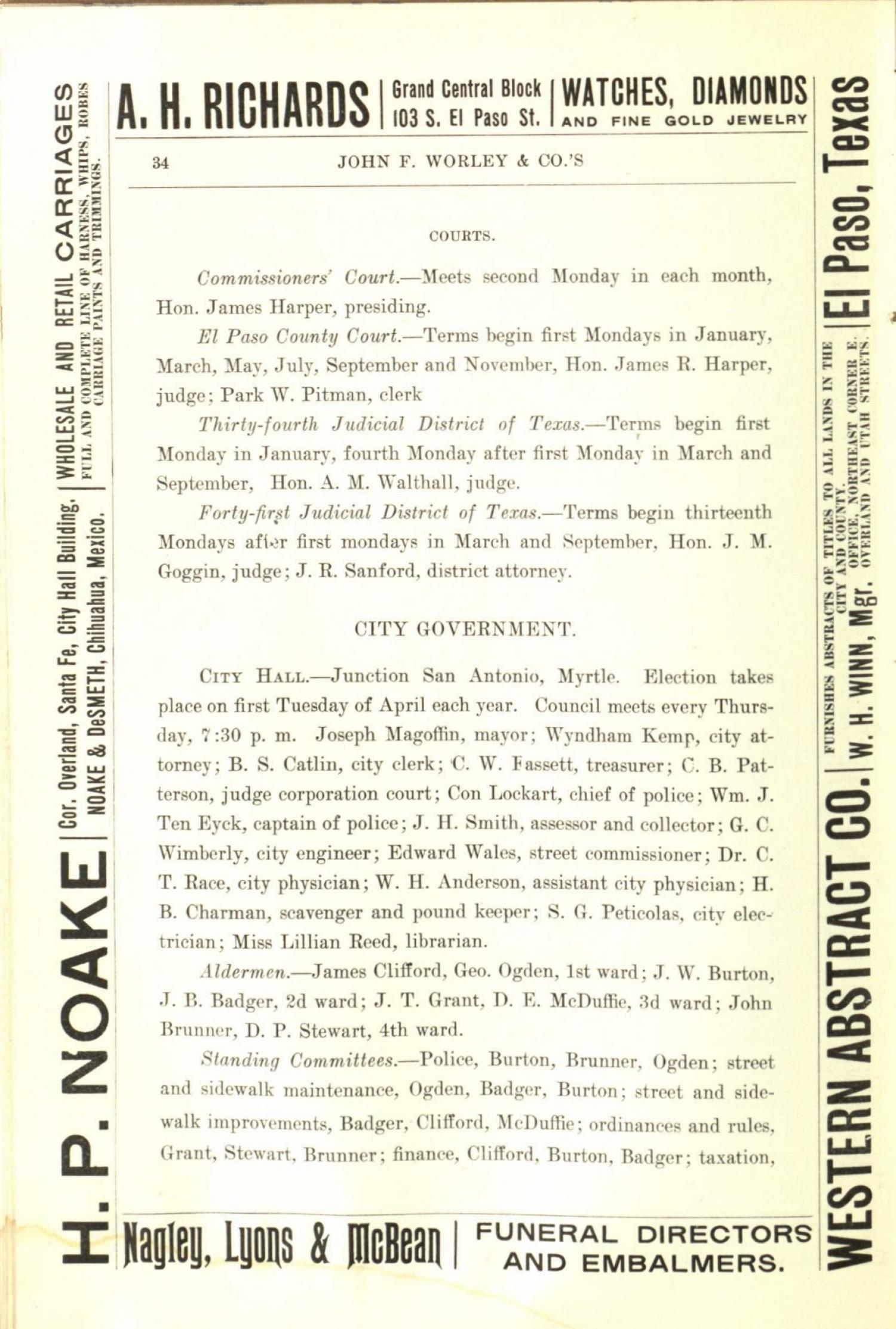 Worley's Directory of the City of El Paso, Texas 1901                                                                                                      34