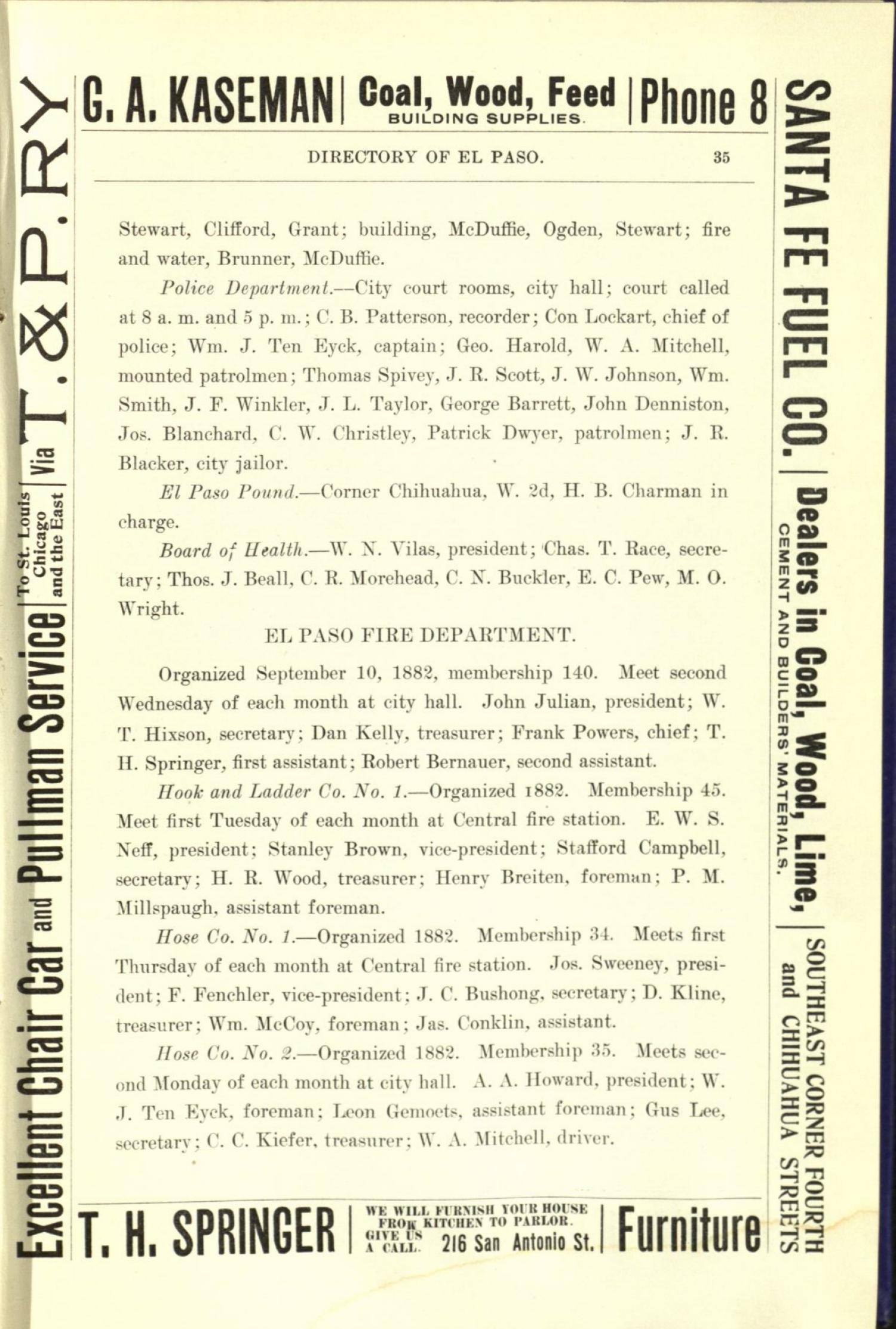 Worley's Directory of the City of El Paso, Texas 1901                                                                                                      35