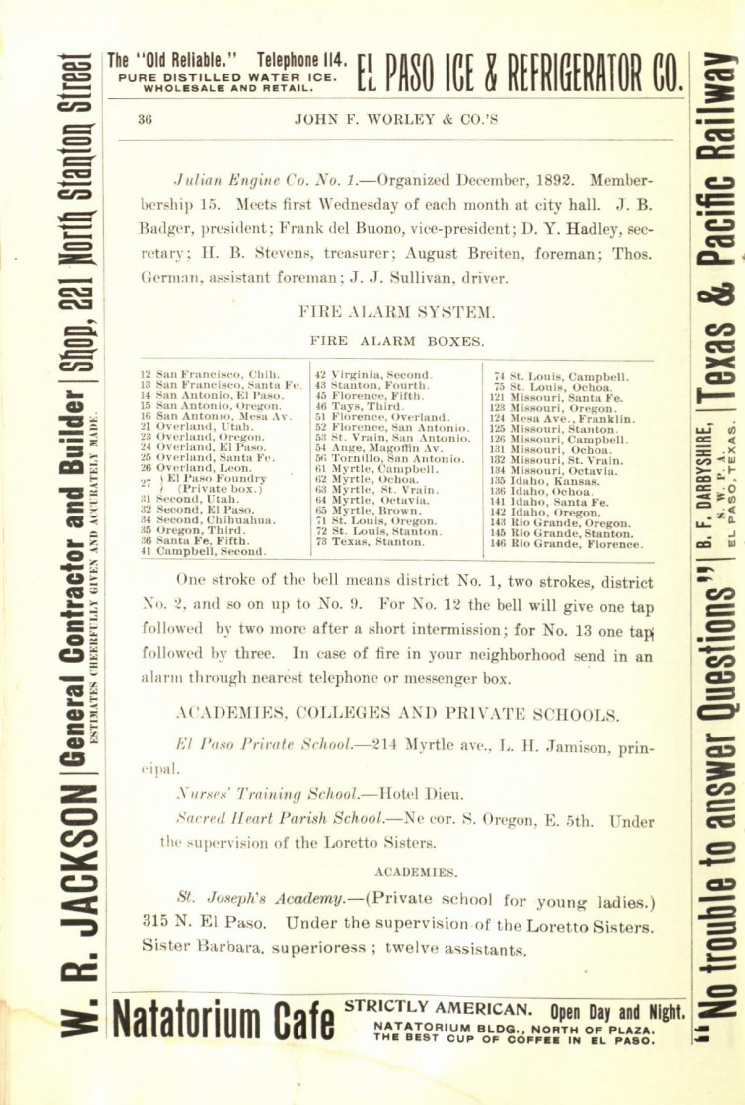 Worley's Directory of the City of El Paso, Texas 1901                                                                                                      36