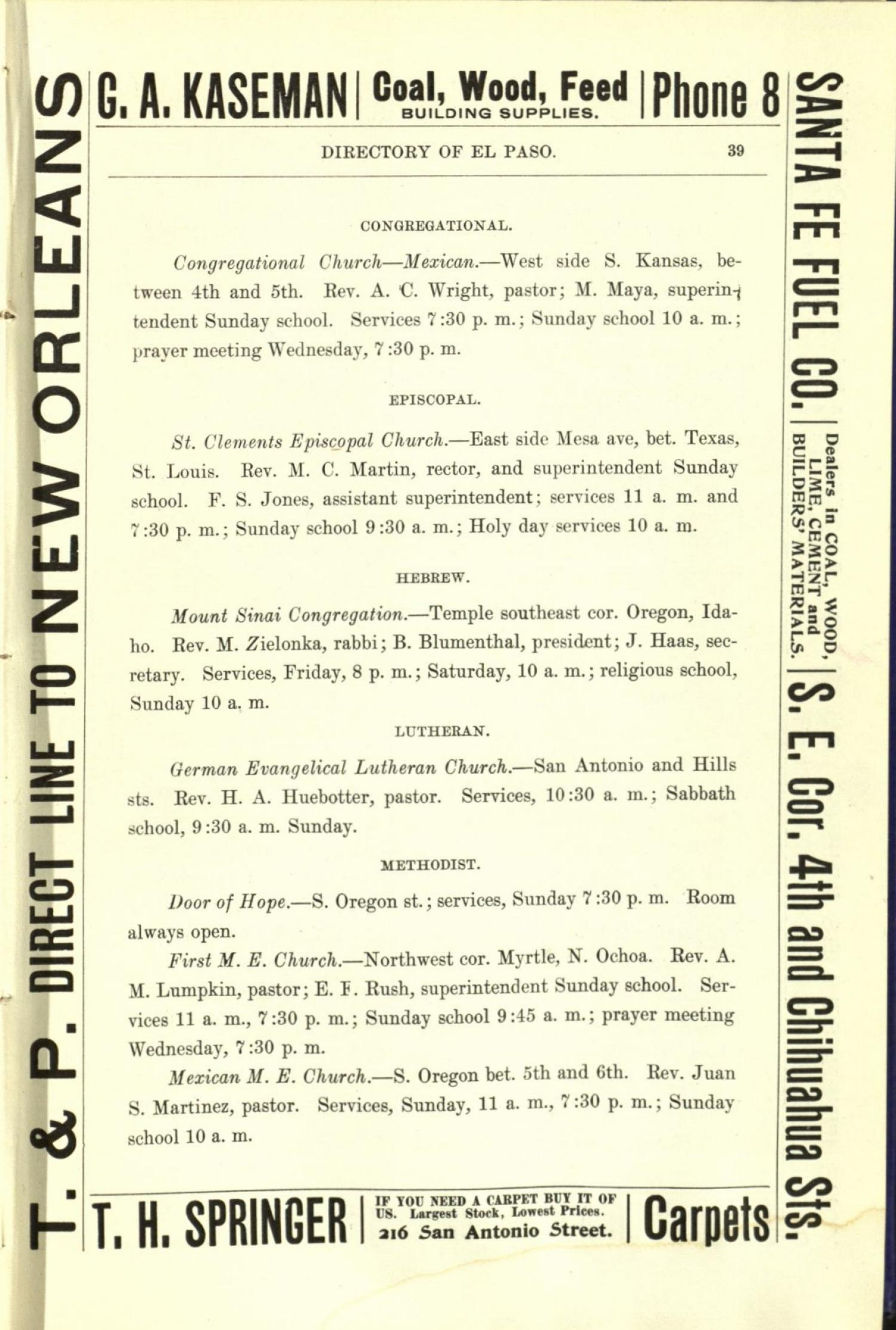 Worley's Directory of the City of El Paso, Texas 1901                                                                                                      39