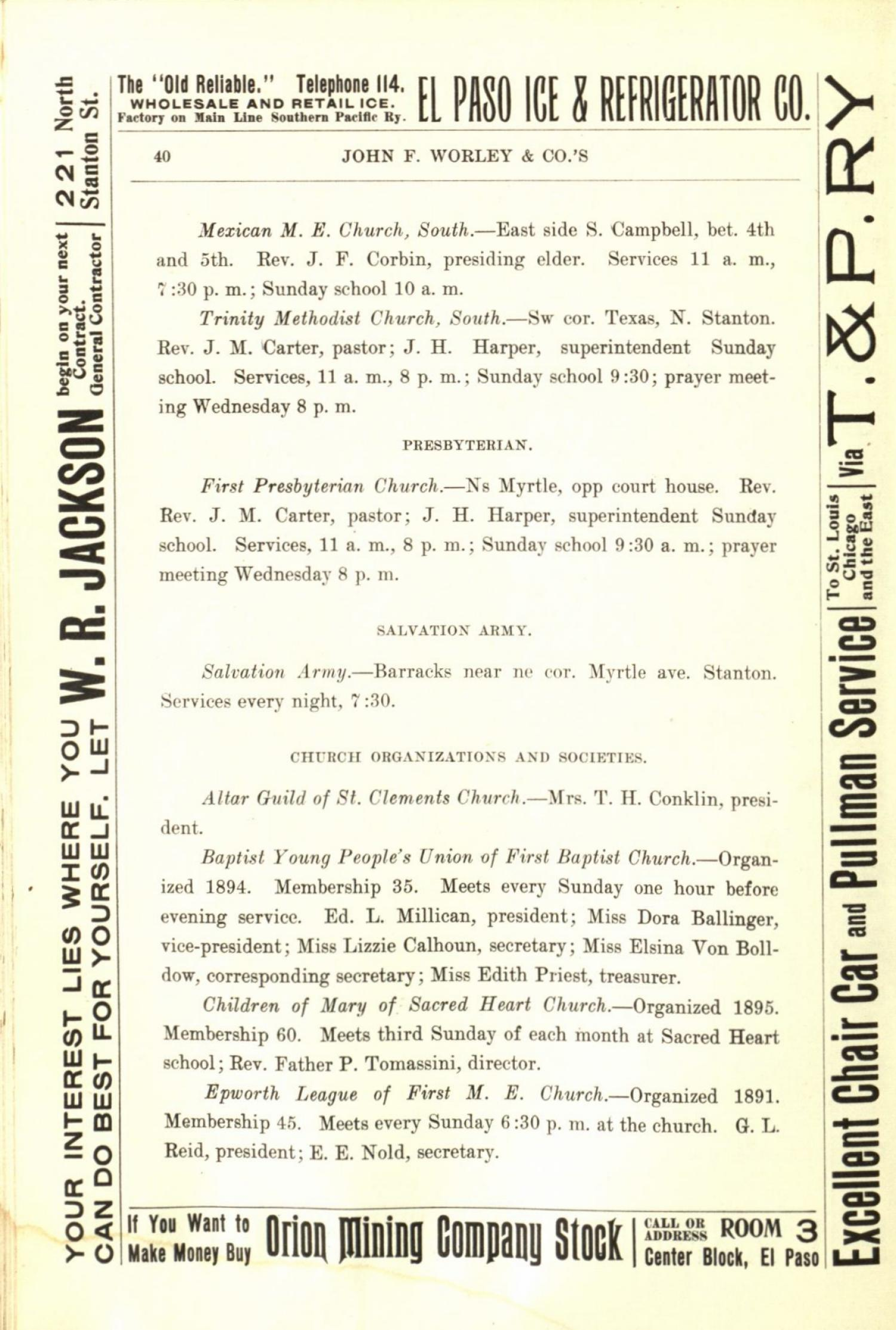 Worley's Directory of the City of El Paso, Texas 1901                                                                                                      40
