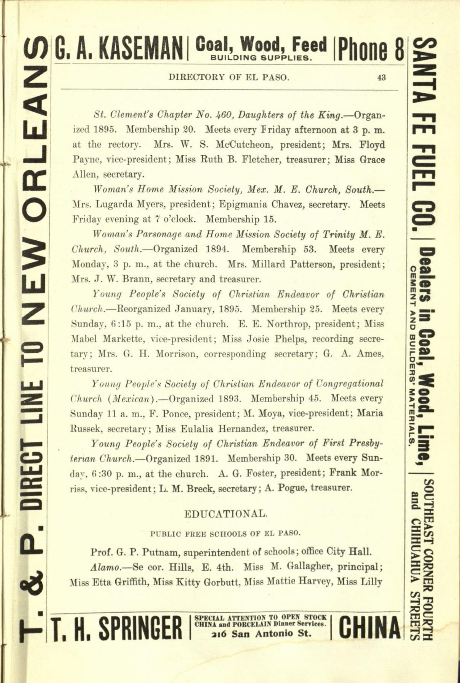 Worley's Directory of the City of El Paso, Texas 1901                                                                                                      43