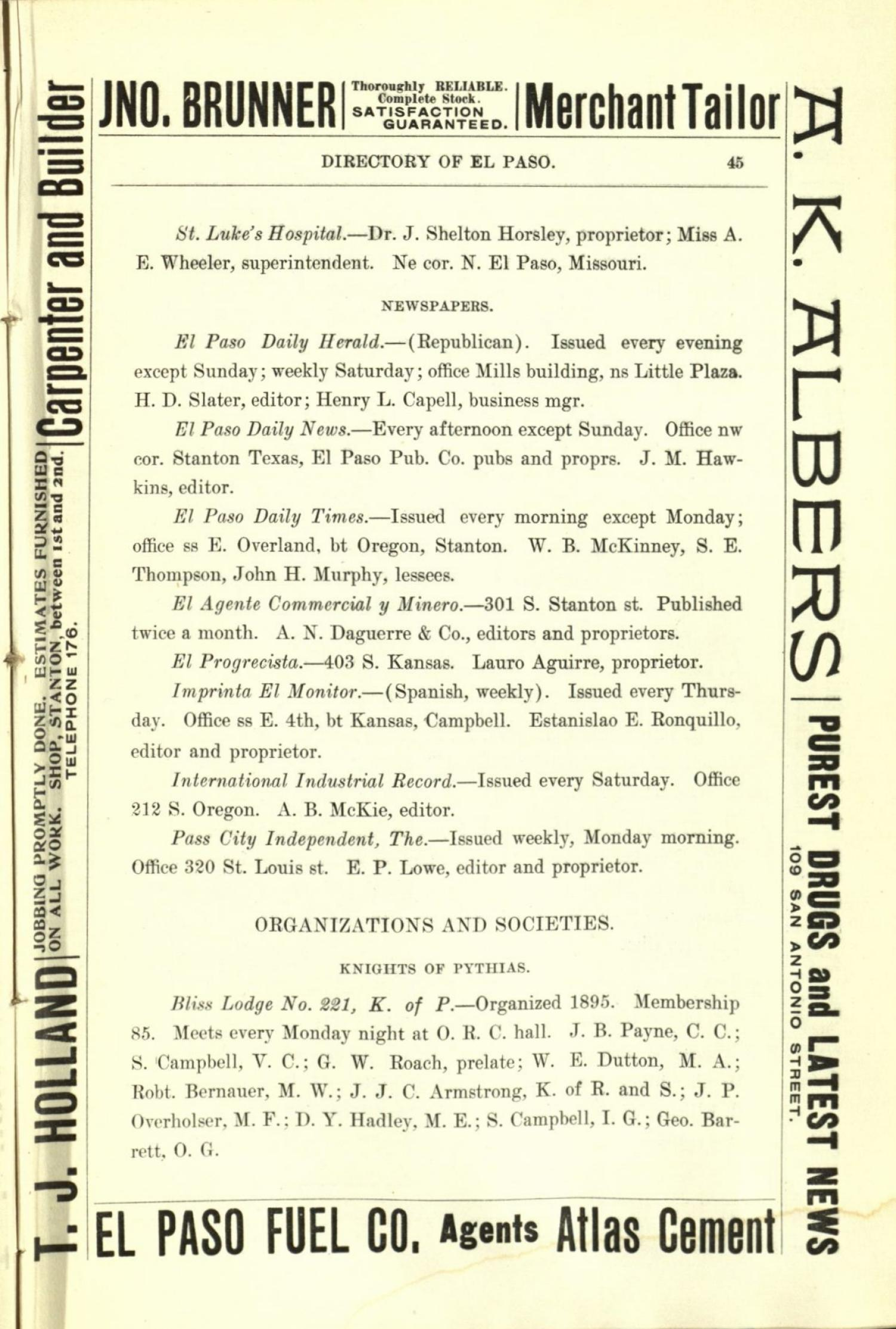 Worley's Directory of the City of El Paso, Texas 1901                                                                                                      45