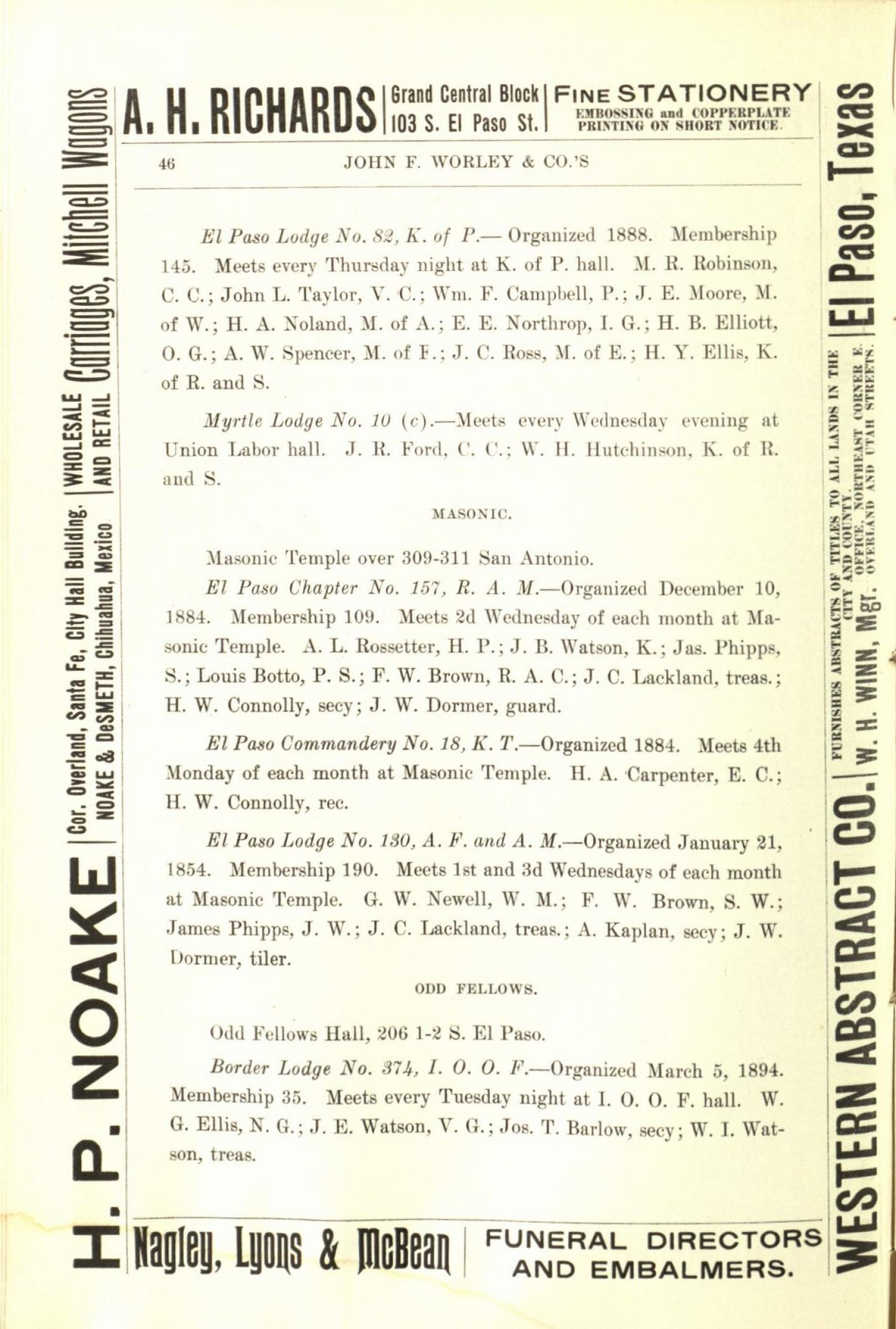 Worley's Directory of the City of El Paso, Texas 1901                                                                                                      46