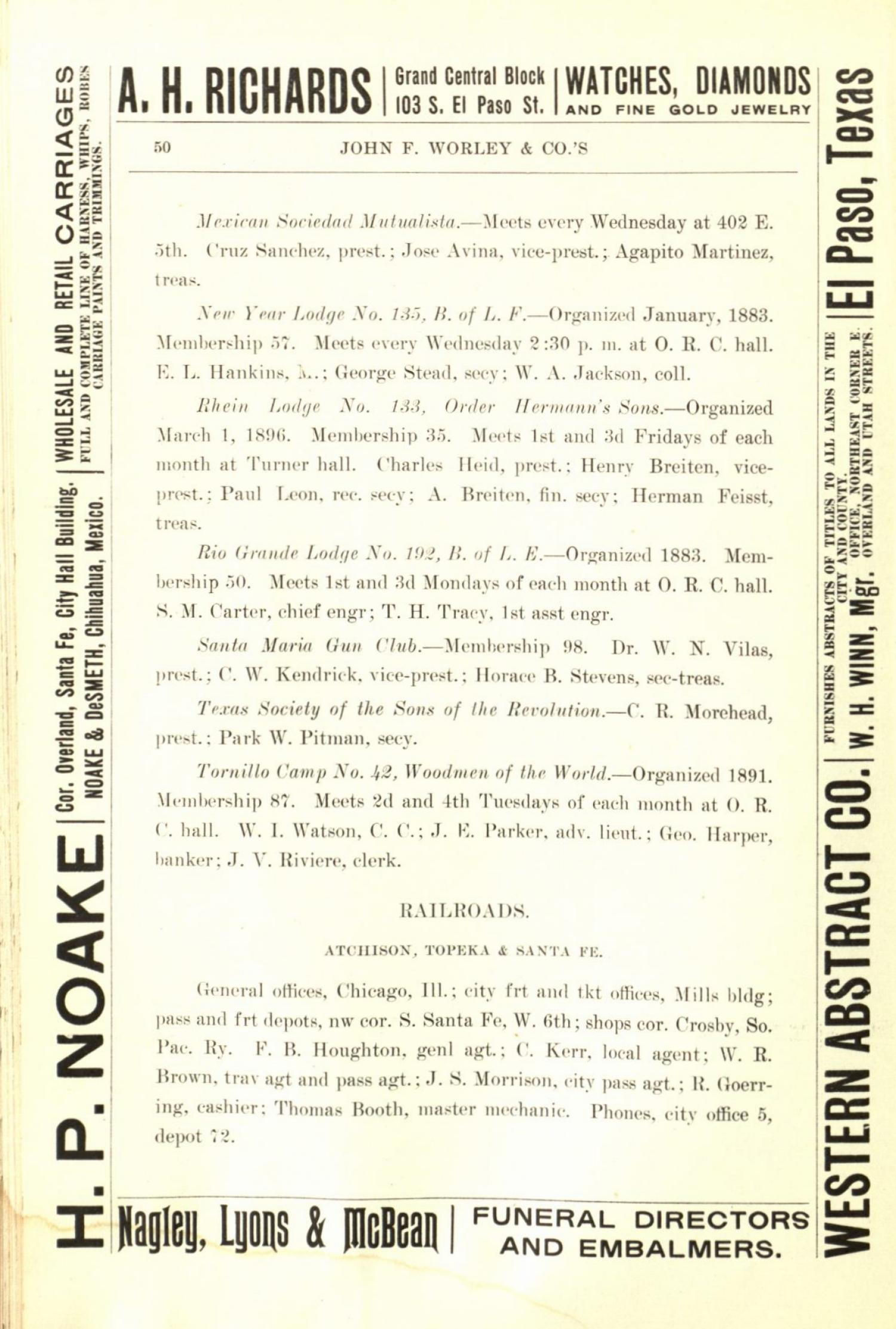 Worley's Directory of the City of El Paso, Texas 1901                                                                                                      50