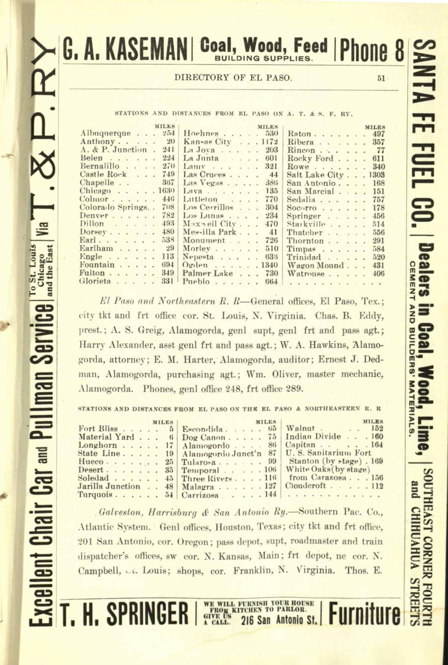 Worley's Directory of the City of El Paso, Texas 1901                                                                                                      51