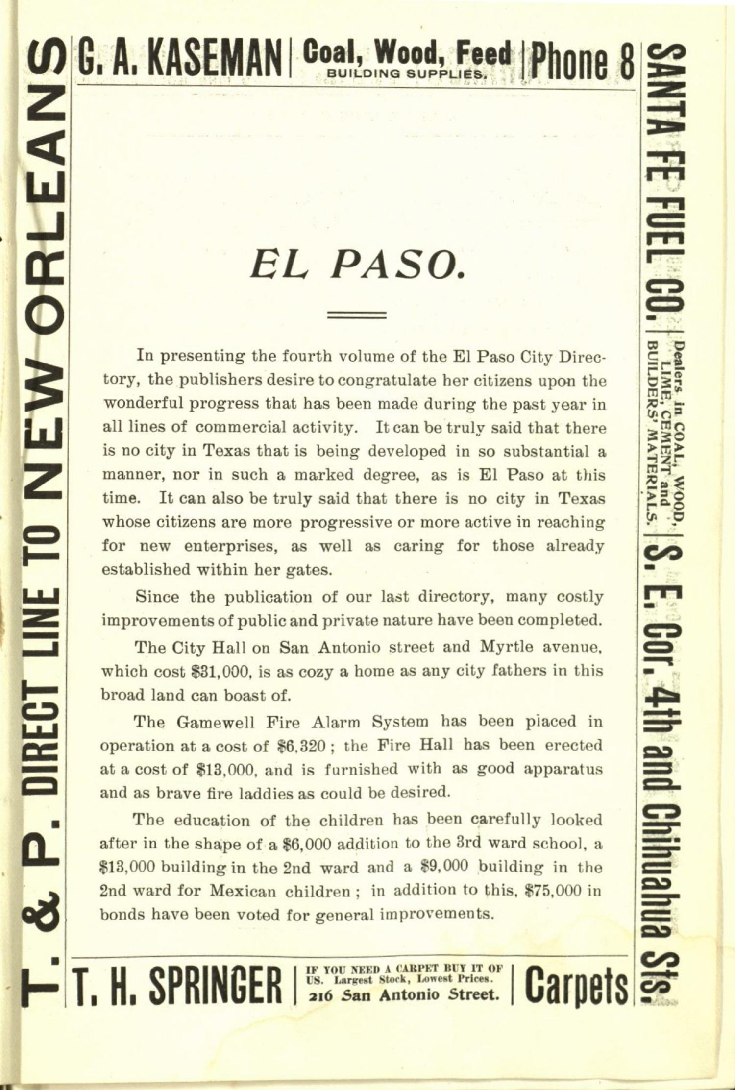 Worley's Directory of the City of El Paso, Texas 1901                                                                                                      None