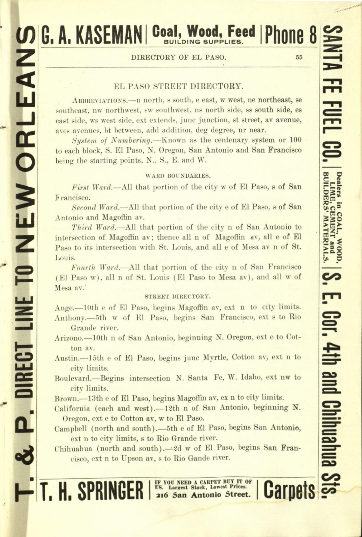 Worley's Directory of the City of El Paso, Texas 1901                                                                                                      55