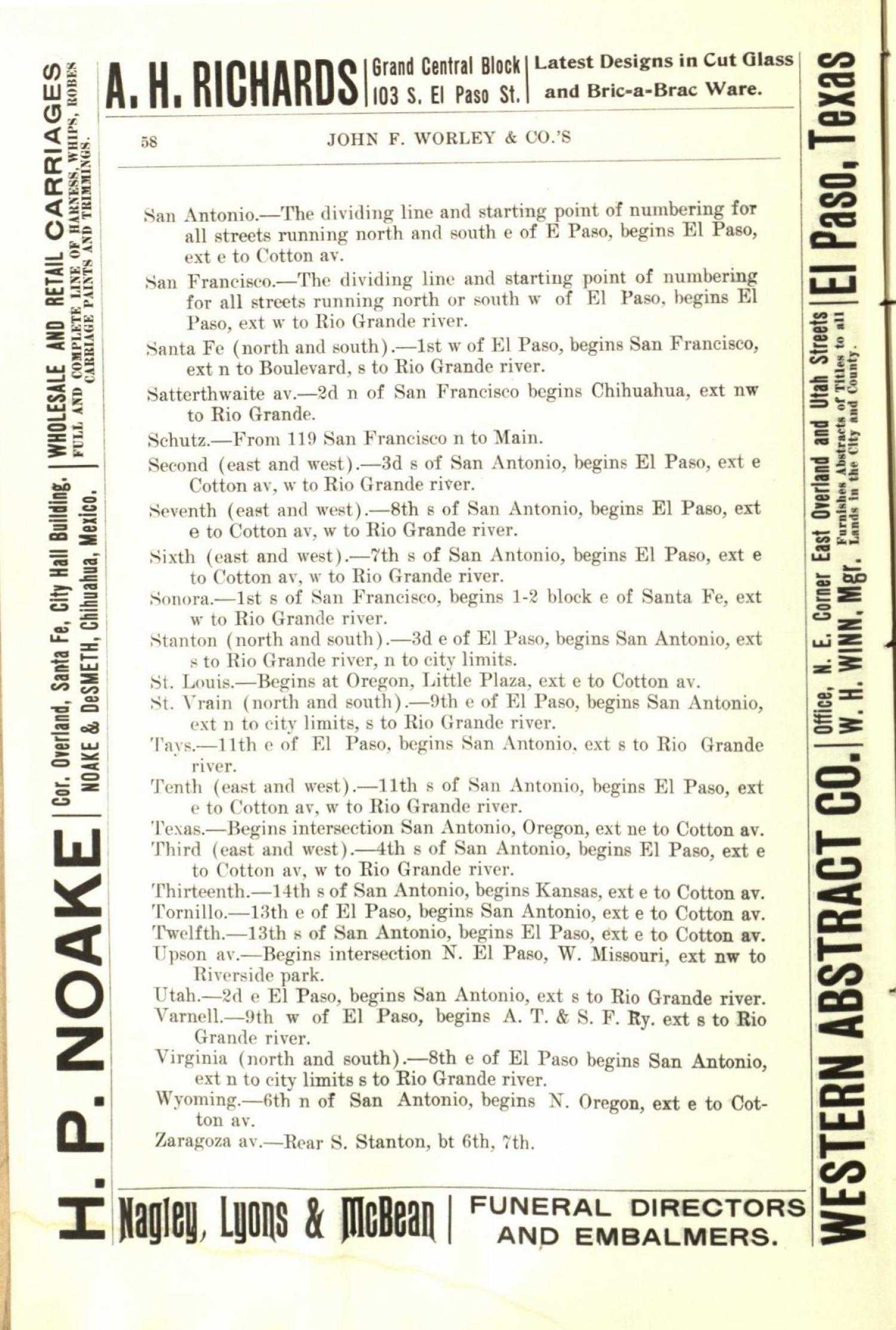 Worley's Directory of the City of El Paso, Texas 1901                                                                                                      58