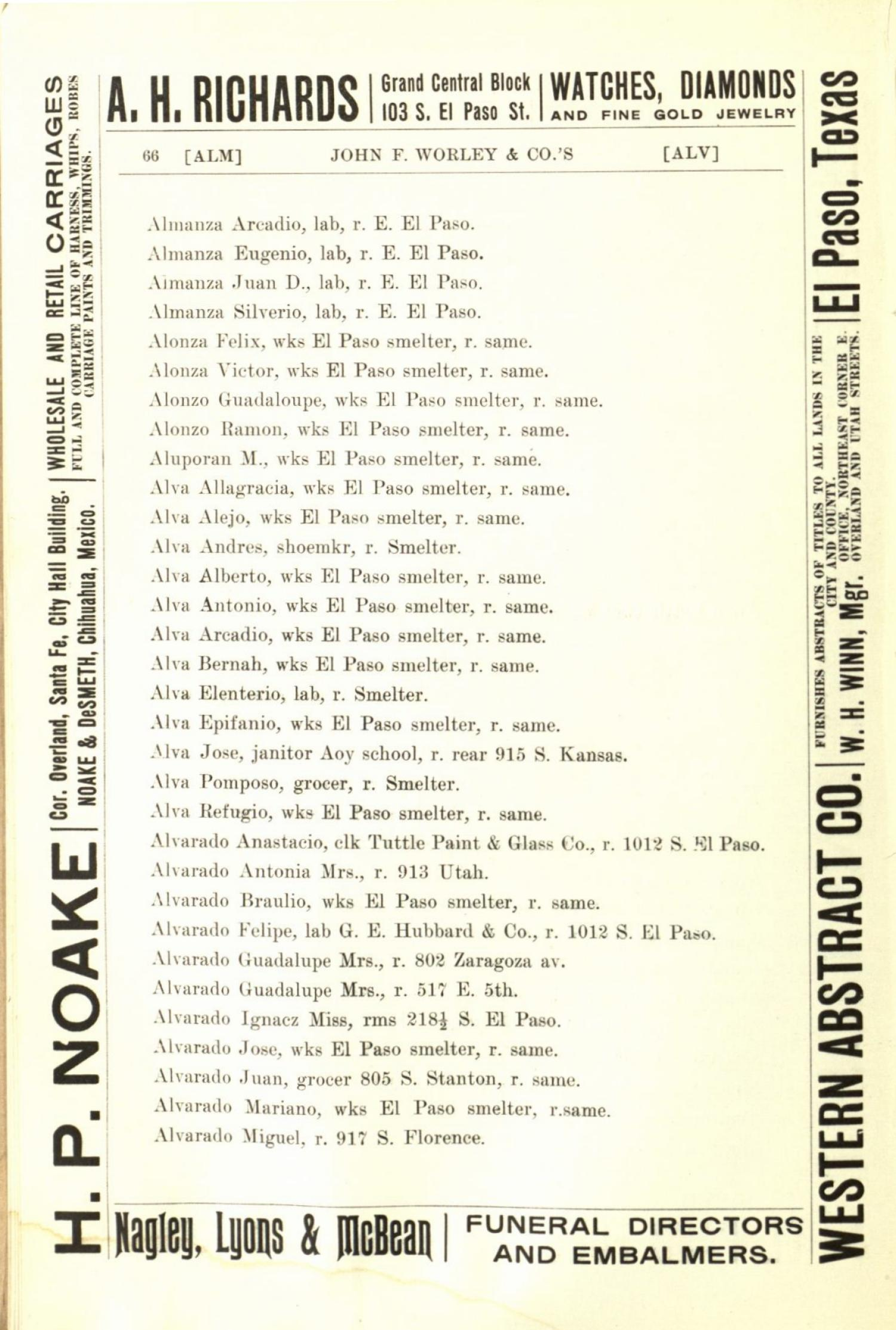 Worley's Directory of the City of El Paso, Texas 1901                                                                                                      66