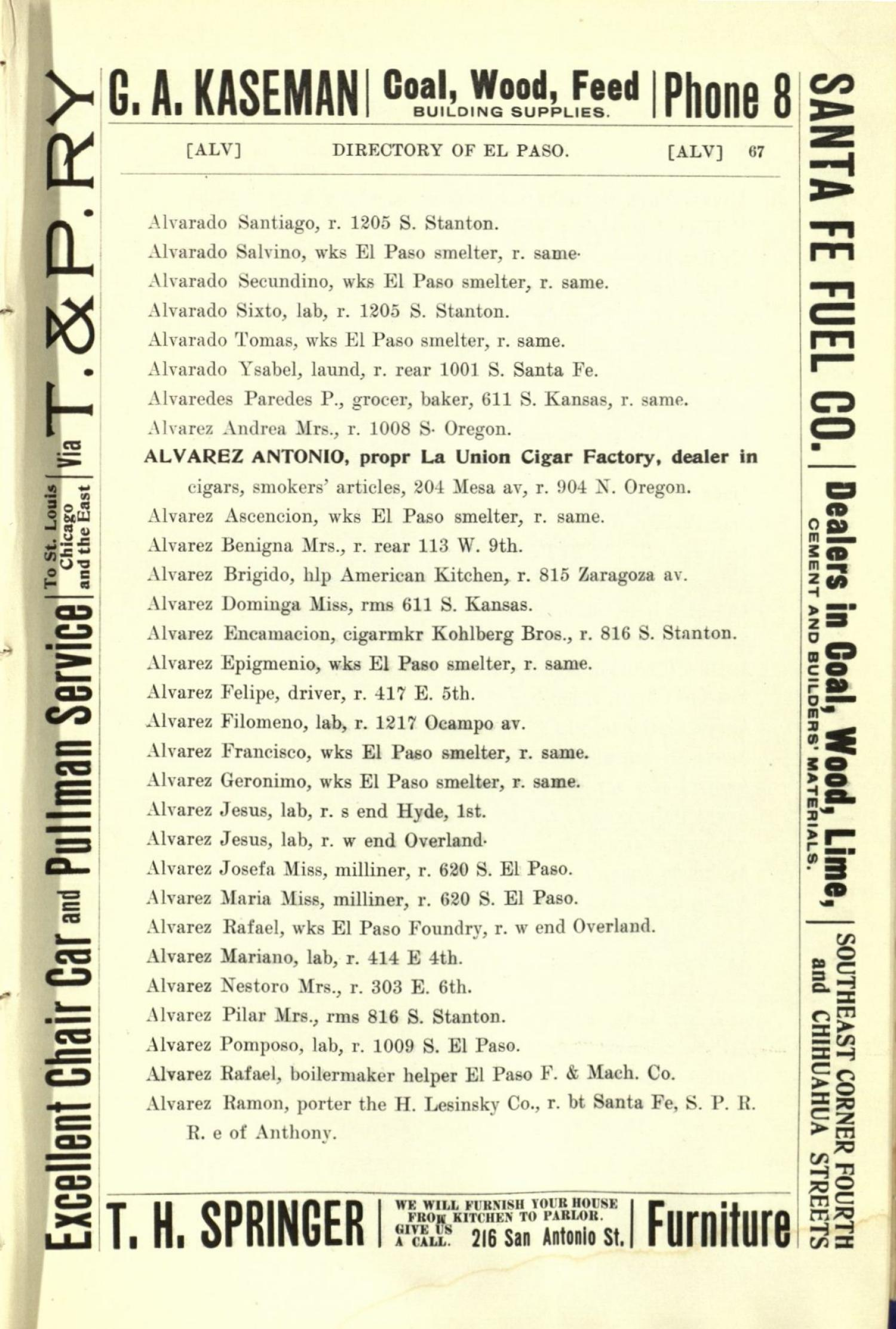 Worley's Directory of the City of El Paso, Texas 1901                                                                                                      67