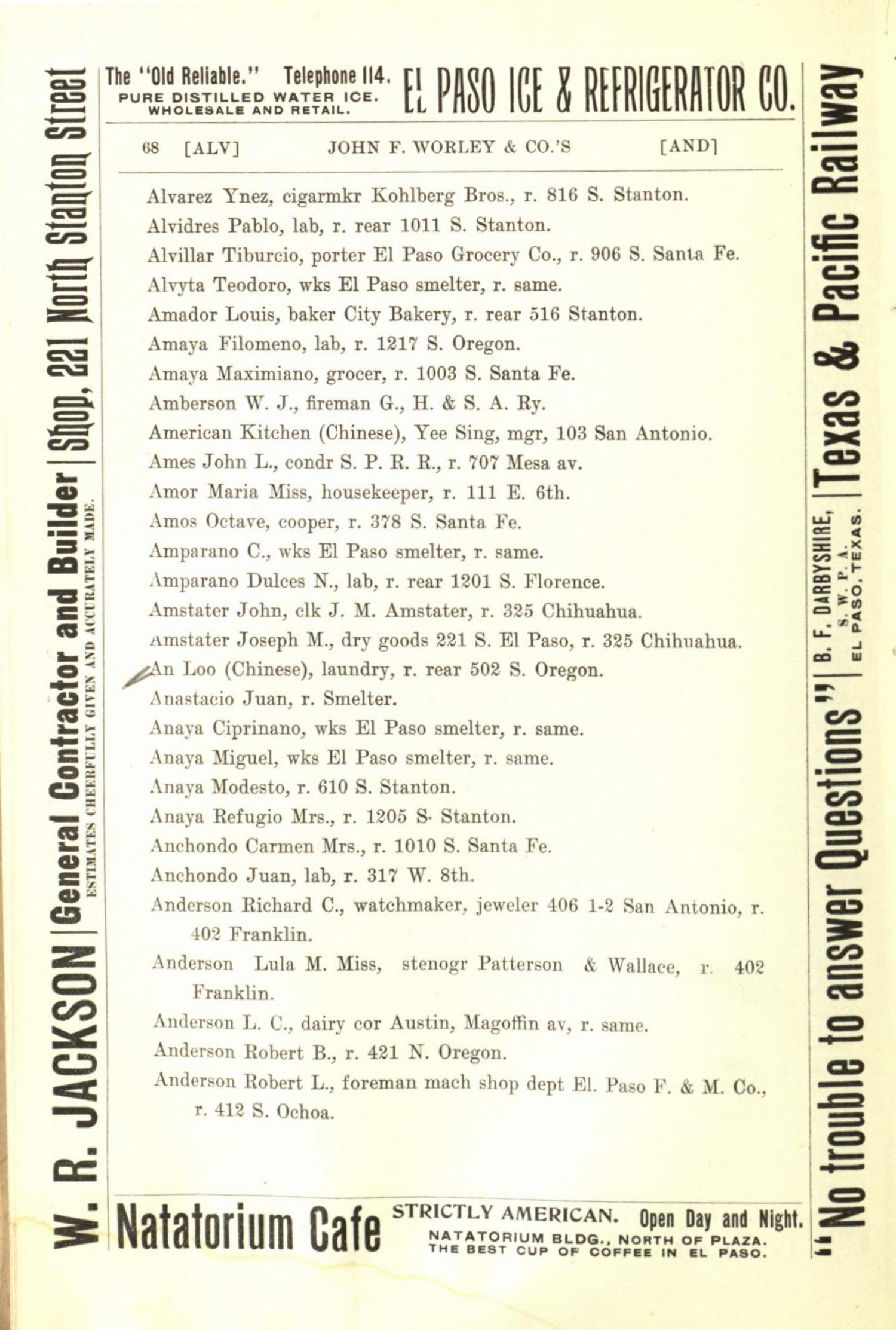 Worley's Directory of the City of El Paso, Texas 1901                                                                                                      68