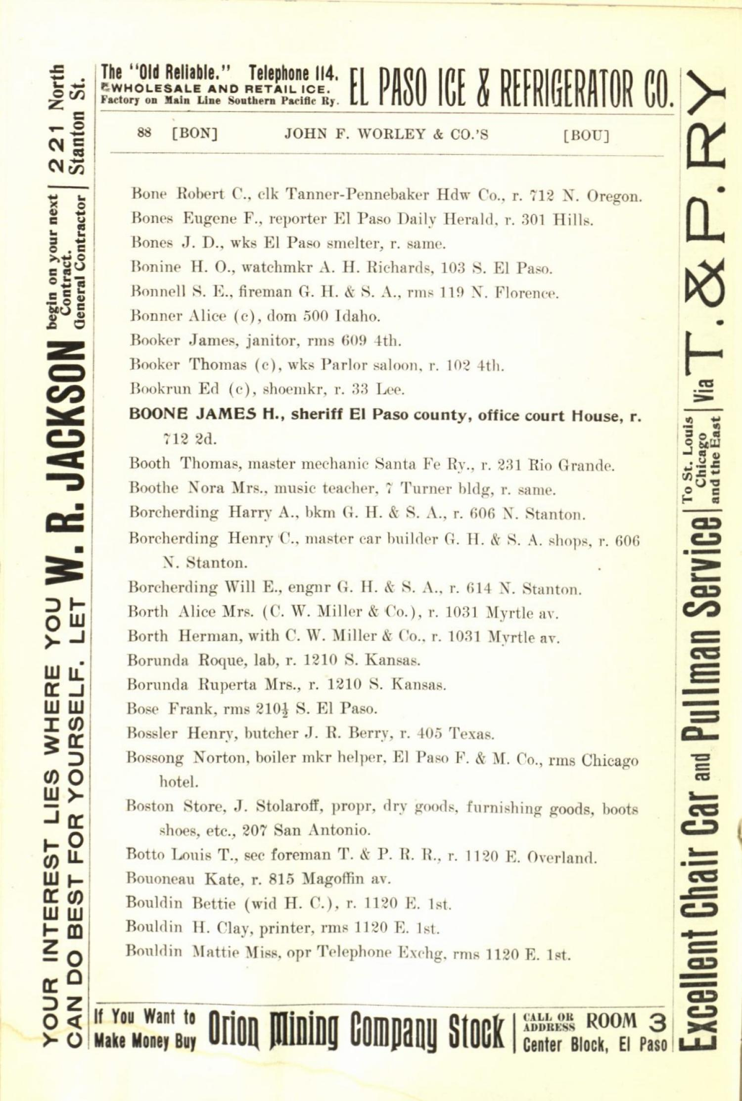 Worley's Directory of the City of El Paso, Texas 1901                                                                                                      88