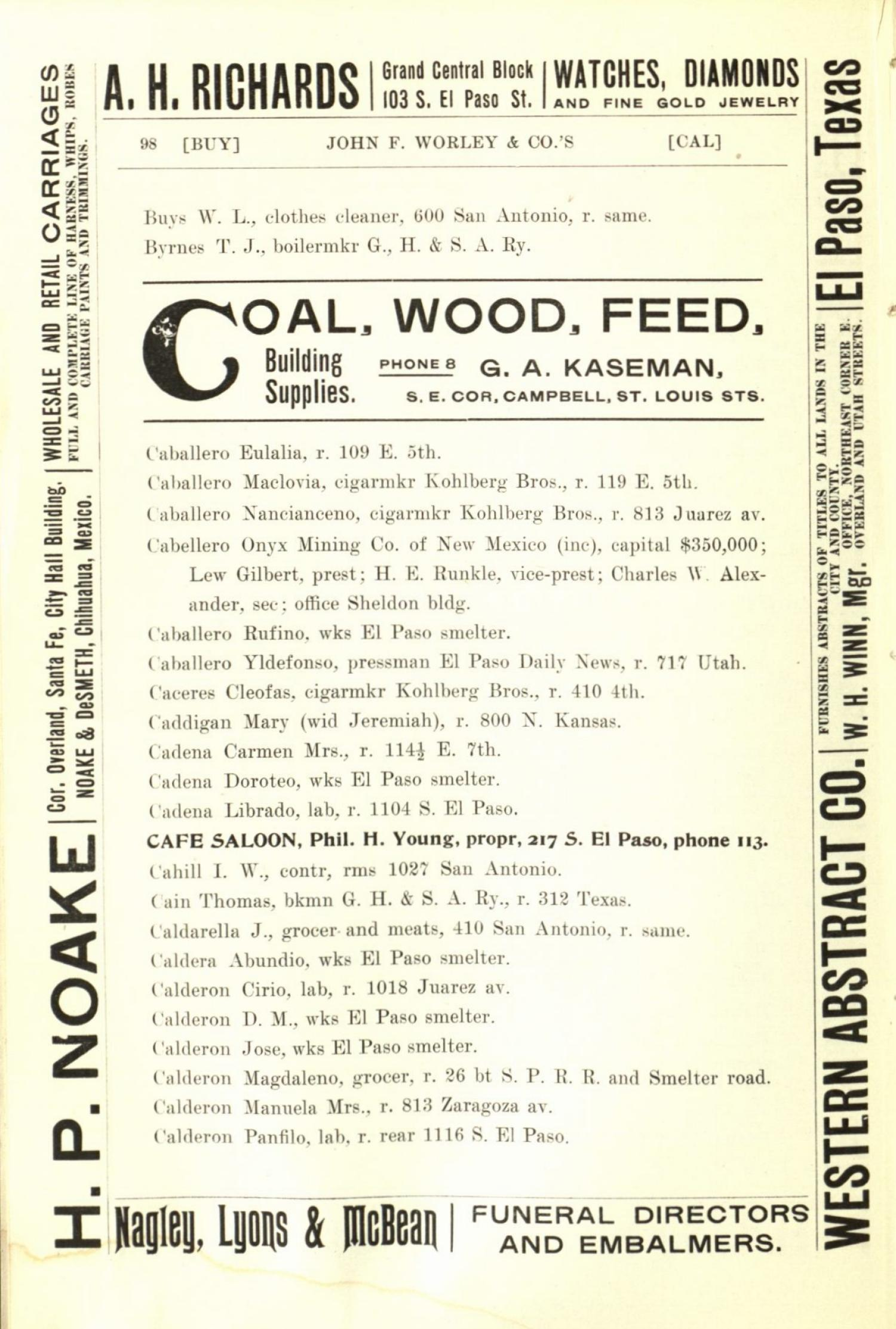 Worley's Directory of the City of El Paso, Texas 1901                                                                                                      98