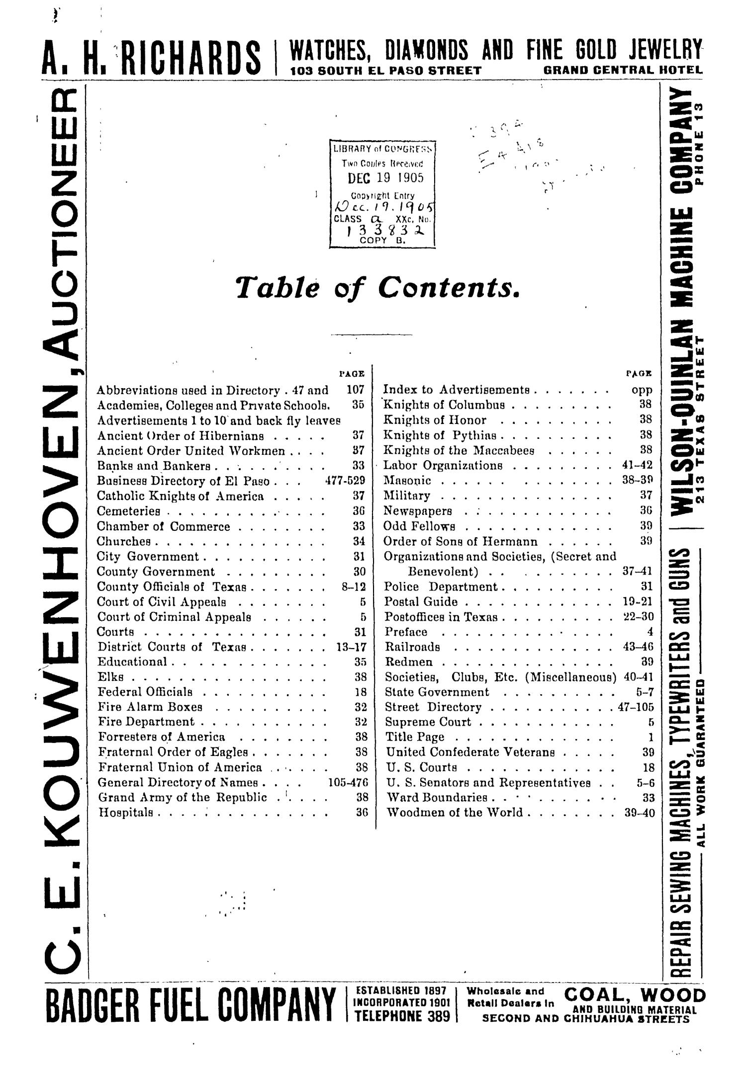 John F. Worley & Co.'s El Paso Directory for 1906                                                                                                      2