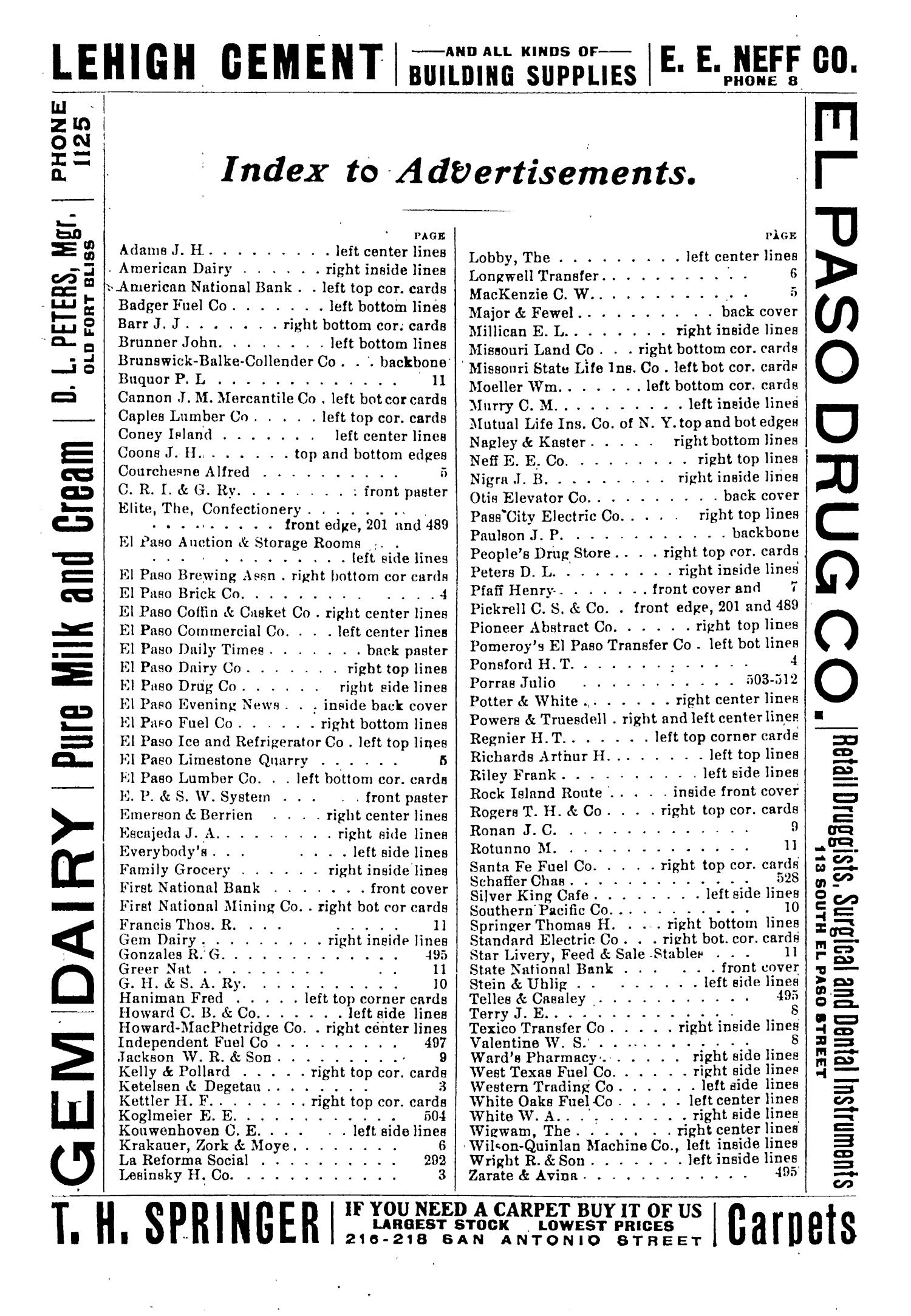 John F. Worley & Co.'s El Paso Directory for 1906                                                                                                      3